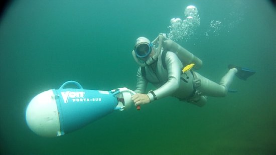 Sea Hunt Forever Diver Jerry Lang with his Vintage Sea Hunt Porta Sub